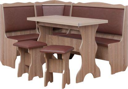 Фото Кухонный уголок «Президент» с табуретами и простым столом 100*60 - sofino.ua