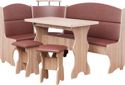 Фото Кухонный уголок «Сенатор» с табуретами и простым столом 100*60 - sofino.ua