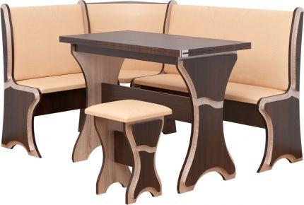 Фото Кухонный уголок «Султан» с табуретами и простым столом 100*60 - sofino.ua