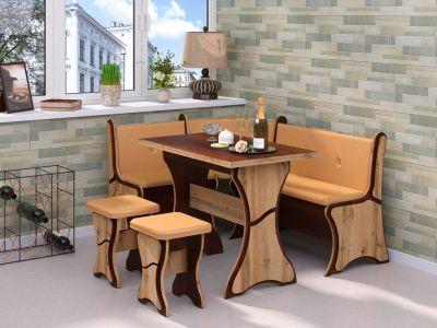 Фото Кухонний куток «Султан» з 2 табуретами та простим столом 100*60 - sofino.ua