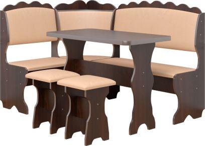 Фото Кухонный уголок «Цезарь» с табуретами и простым столом 100*60 - sofino.ua