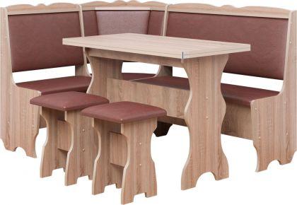 Фото Кухонный уголок «Лорд» с табуретами и простым столом 80*60 - sofino.ua