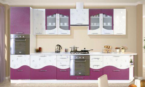 Кухня прямая «Вита - коллекция №260545» Фиолетовый перламутр + Бабочка глянец