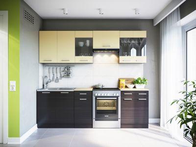 Кухня пряма Марта Світ меблів • Скло + ДСП • 240 см • Фасад Венге темний + Венге світлий + Корпус Венге темний