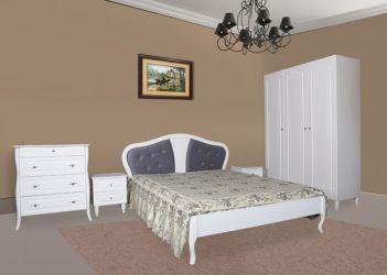 Кровать двуспальная «Луиза» (шпон) 160*200 | белый | мягкая