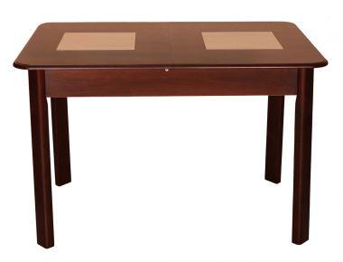Фото Стол раскладной деревянный 115-154*74 см «Бостон с керамическими вставками» Орех темный - sofino.ua