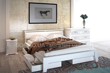 Кровать «Венеция» с мягким изголовьем 140*190 | 2 ящика | белый
