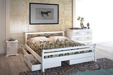 Кровать «Ретро» с ковкой 140*190 | 2 ящика | белый