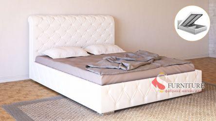 Кровать-подиум белая «Алиция» с подъемным механизмом 140*190