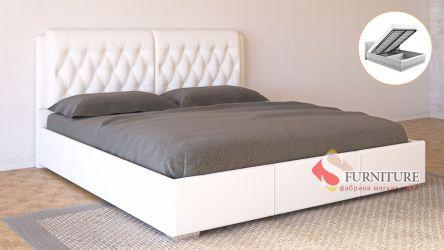 Кровать-подиум белая «Моника» с подъемным механизмом 140*190