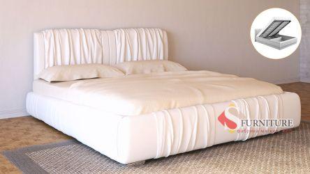 Кровать-подиум белая «Шарлотта» с подъемным механизмом 140*190