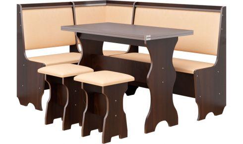 Фото Кухонный уголок со столом и 2 табуретами «Атаман» - sofino.ua