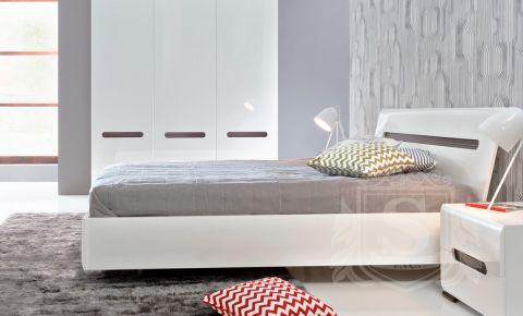 Фото Кровать двуспальная «Ацтека» | Нимфея Альба | Белый глянец - sofino.ua