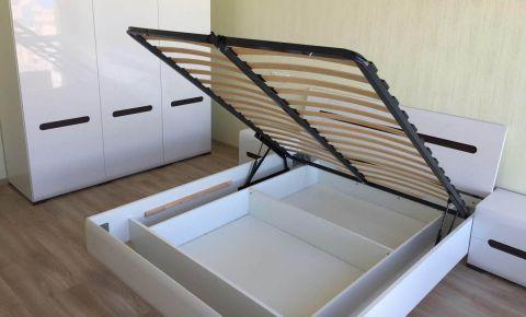 Кровать LOZ/160 «Ацтека» с подъемным механизмом | Нимфея Альба | Белый глянец