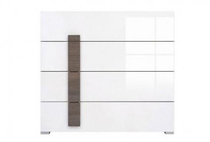 Комод KOM4S «Доменика» Дуб сонома темный | Белый глянец