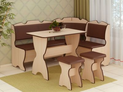 Фото Кухонний куток «Комфорт» з 2 табуретами та простим столом 100*60 - sofino.ua