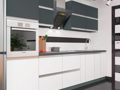 Кухня пряма ВІП мастер Альбіна матова (ДСП Антрацит Білий) 300 см
