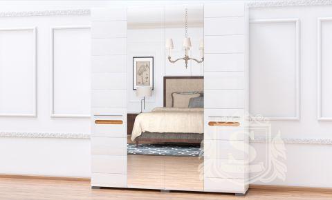 Шкаф платяной с зеркалом глянец «Бьянко 4ДЗ»