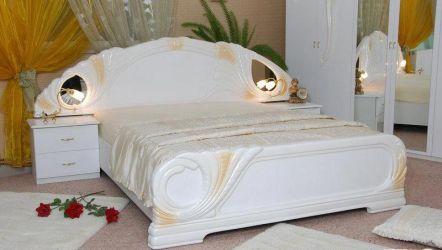 Кровать белая двуспальная «Лола» с подъемным механизмом 1,6 | гл. белый