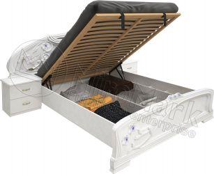 Кровать белая «Лулу» с подъемным механизмом 1,8 | гл. белый