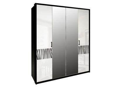 Шафа Міромарк «Терра 4Д» (Дзеркало) 212,5x182,6x55 Глянець білий + Мат чорний