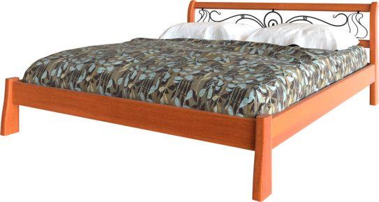 Фото Деревянная кровать «Ретро с кованным изголовьем» Массив Ольхи - sofino.ua