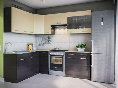 Кухня кутова Марта Світ меблів • Скло + ДСП • 230х170 см • Фасад Венге темний + Венге світлий + Корпус Венге темний