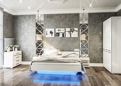 Спальня Бянко Білий + Дуб сонома (Ліжко, Тумбочки 2 шт, Дзеркало 100, Комод, Шафа 3Д)