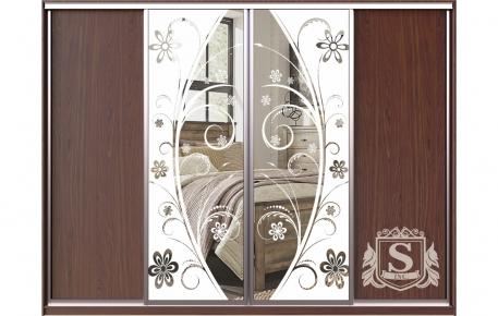 Фото Шкаф купе 4 двери | ДСП + Пескоструй + Пескоструй + ДСП - sofino.ua
