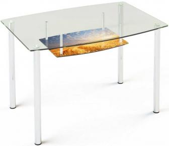 Стол обеденный «S2» 91*61 (Верх прозрачный, низ рисунок)