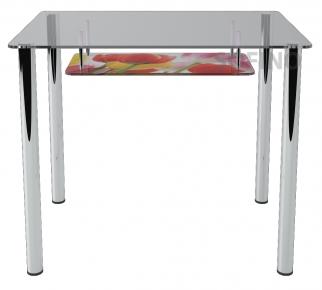 Стол обеденный «S3» 91*61 (Верх прозрачный, низ рисунок)