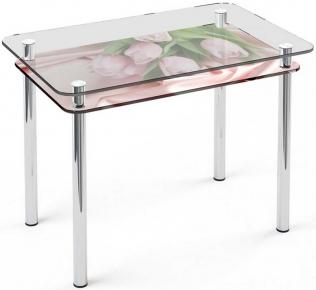 Стол обеденный «S5» 91*61 (Верх прозрачный, низ рисунок)