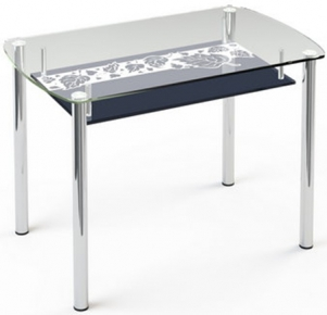Стол обеденный «S7» 91*61 (Верх прозрачный, низ рисунок)
