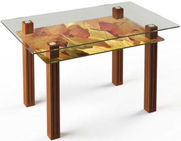 Стол обеденный «SW6» 91*61 (Верх прозрачный, низ рисунок)