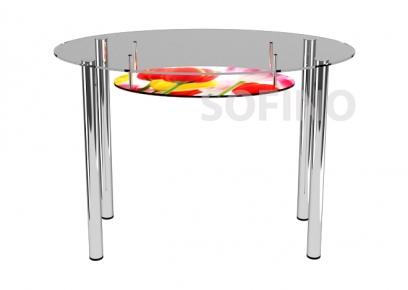 Стол обеденный «О1» 110*65 (Верх прозрачный, низ рисунок)