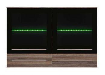 Шкаф навесной с подсветкой SFW_2W2S 8/12 «Лайк» Ясень коимбра темный | Темный графит