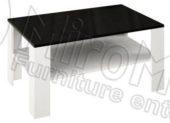 Стол журнальный большой «Терра» глянец белый / черный мат