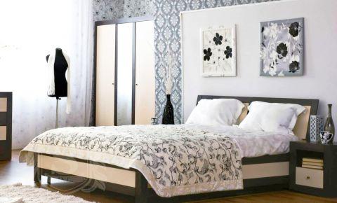 Фото Кровать «Капри с ламелями» Венге темный + светлый - sofino.ua