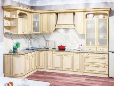 Фото Кухня кутова Світ меблів Валенсія патина матова (МДФ Клен) 300х182 см - sofino.ua