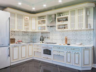 Фото Кухня кутова Світ меблів Роксана матова (МДФ Прованс світлий) 352х180 см - sofino.ua