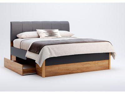 Ліжко Міромарк «Рамона (М)» 160х200 (Без ламелей) Дуб крафт + Мат лава