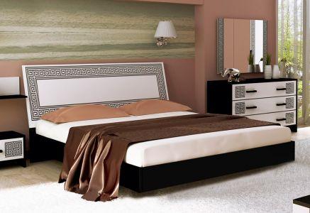 Ліжко для спальні Міромарк Віола ДСП Глянець білий + Чорний мат