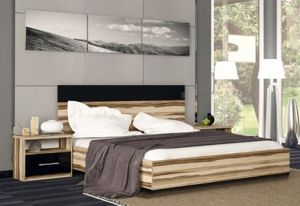 Ліжко для спальні Міромарк Соната ДСП Глянець чорний + Горіх балтімор