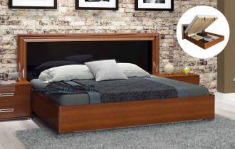 Фото Двуспальная кровать с механизмом «Белла рамка» | Глянец черный - sofino.ua