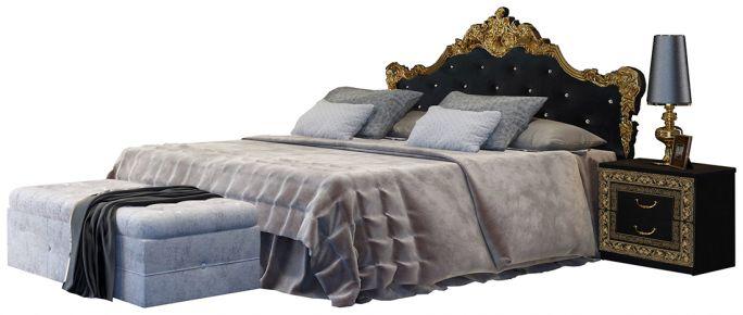 Фото Кровать «Jennifer с мягким изголовьем» цвет черный глянец - sofino.ua