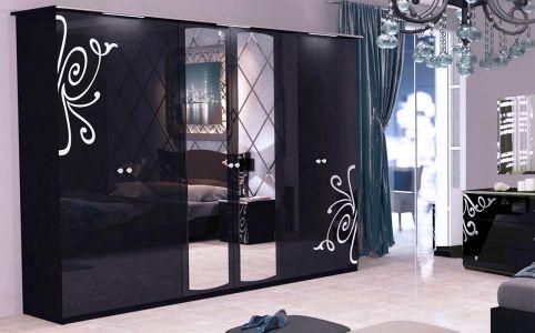 Шкаф 6д «Богема» с зеркалом | Глянец черный