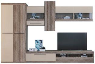 Стенка ТВ «Толедо» со шкафом | Дуб трюфель | Крем