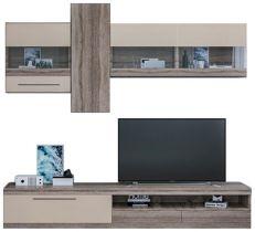 Стенка ТВ «Толедо» без шкафа | Дуб трюфель | Крем