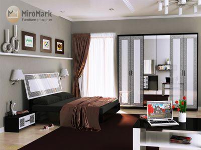 Спальня Міромарк «Віола» 160х200 (Шафа 6д) Глянець білий + Мат чорний