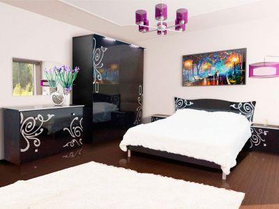 Спальня Феліція Нова Світ Меблів ДСП + Художній друк (Шафа купе + Дзеркало + Комод)